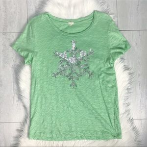 J. Crew Factory Sequin Snowflake Graphic Tee Green
